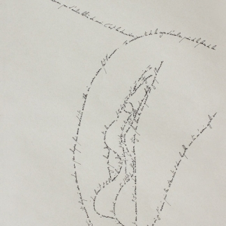 The Vulva, Marc Molk, 2013, calligramm, indian ink on old paper, 11,3 x 7,8 in