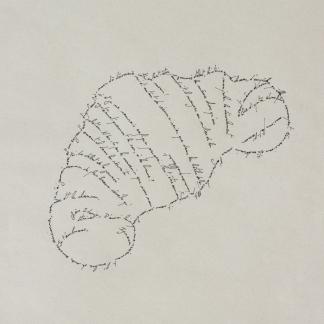 Le croissant, Marc Molk, 2013, calligramme, encre de chine sur papier, 28,8 x 19,8 cm