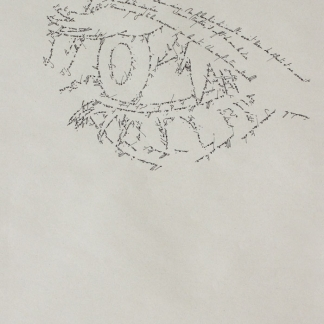 The Eye, Marc Molk, 2013, calligramm, indian ink on old paper, 11,3 x 7,8 in