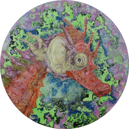 La Naïveté, Marc Molk, 2014, huile et acrylique sur toile, diamètre 80 cm