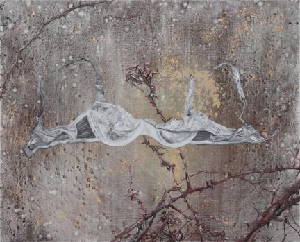 Le coeur de Clémentine est une rose fanée, Marc Molk, 2014, huile et acrylique sur toile, 81 x 100 cm