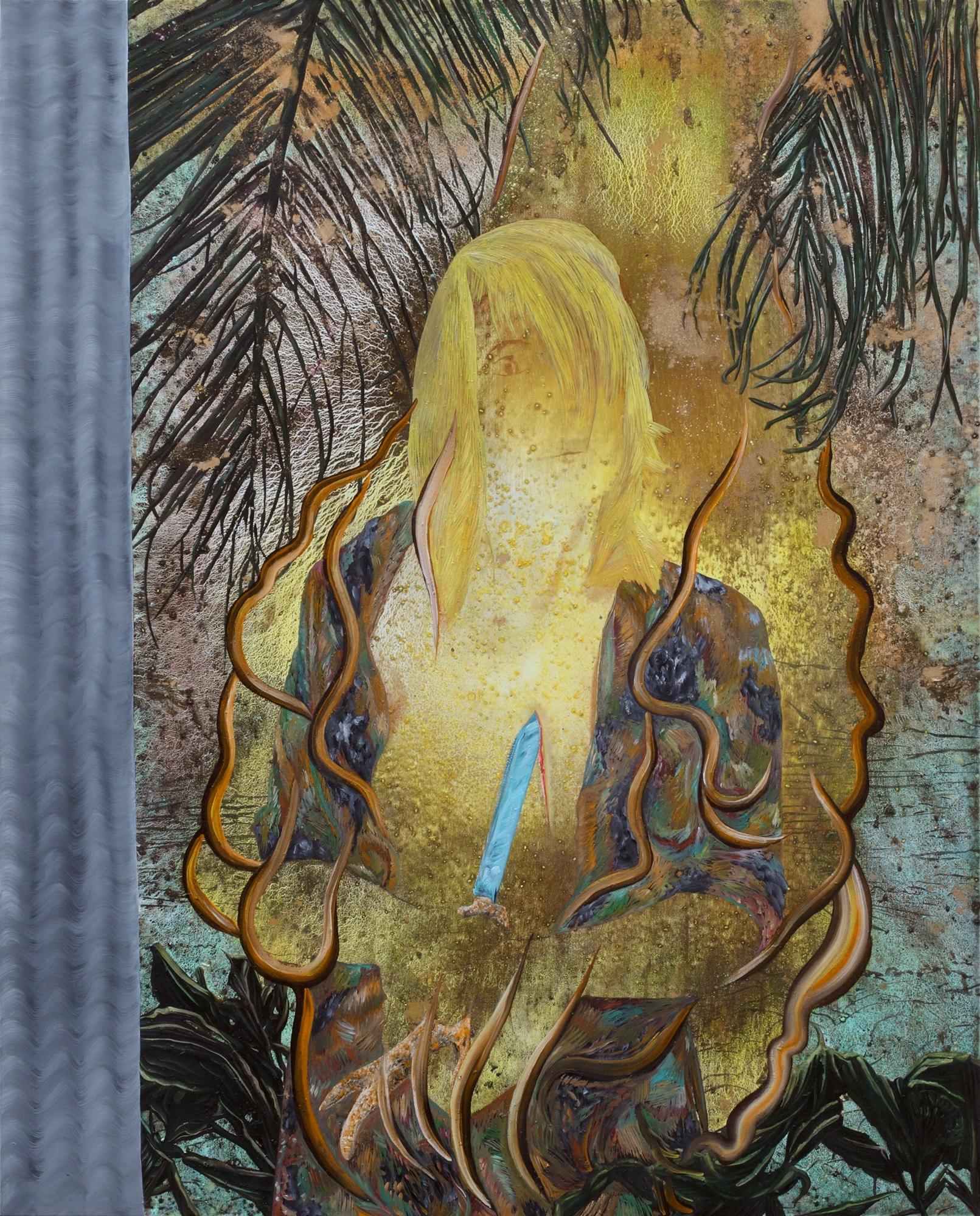 L'Île aux mimosas, Marc Molk, 2014, huile et acrylique sur toile, 162 x 130 cm