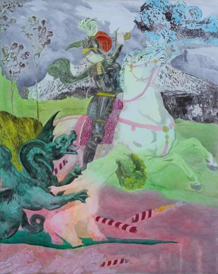Le monopole du coeur, Marc Molk, 2008, huile et acrylique sur toile, 92 x 73 cm