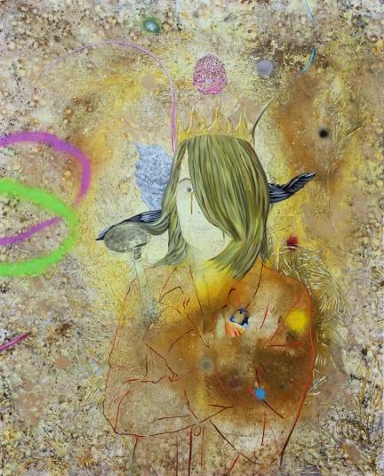 La Reine des petites affections, Marc Molk, 2016, huile et acrylique sur toile, 162 x 130 cm
