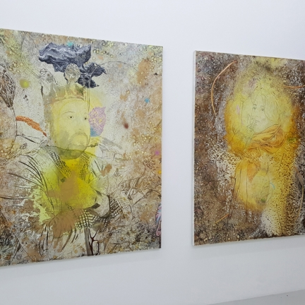 On the left : Still attemp to reign over France, Marc Molk, 2015, oil and acrylic on canvas, 63,8 x 51,2 in / On the right : The power of elixirs, Marc Molk, 2016-2017, oil and acrylic on canvas, 63,8 x 51,2 in