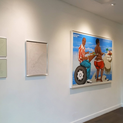 The instance of the letter / Group show / MARC MOLK (on the left), CHÉRI SAMBA (on the right), KIMIKO YOSHIDA