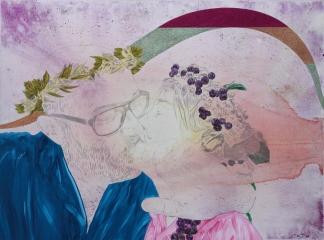 L'adolescence à l'âge adulte, Marc Molk, 2017, huile, acrylique et paillettes sur toile, 97×130 cm