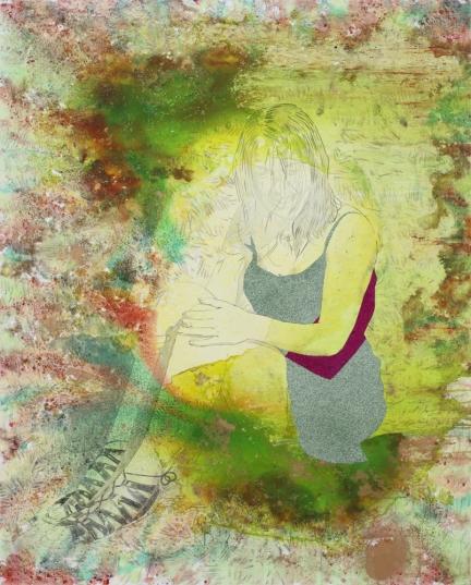 Les cris de la fée, Marc Molk, 2016-2017, huile, acrylique et paillettes sur toile, 162×130 cm