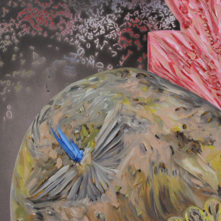 Détail / Le Chagrin, Marc Molk, 2018, huile et acrylique sur toile, diamètre 80 cm