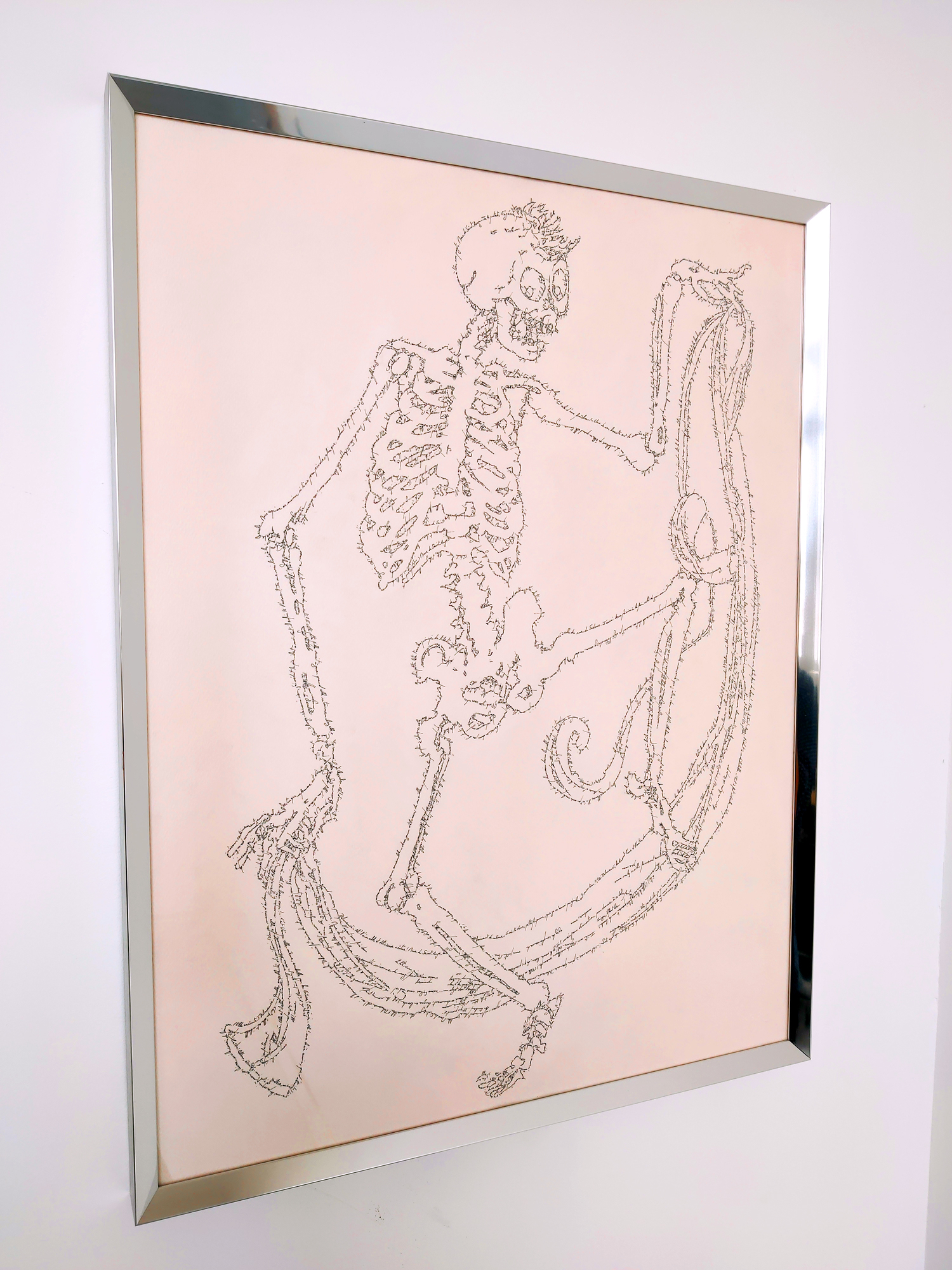 Mad skeleton with a stole (Philosophy in the Bedroom), Marc Molk, 2016, Calligram, Indian ink on paper, 25,5 x 19,5 in