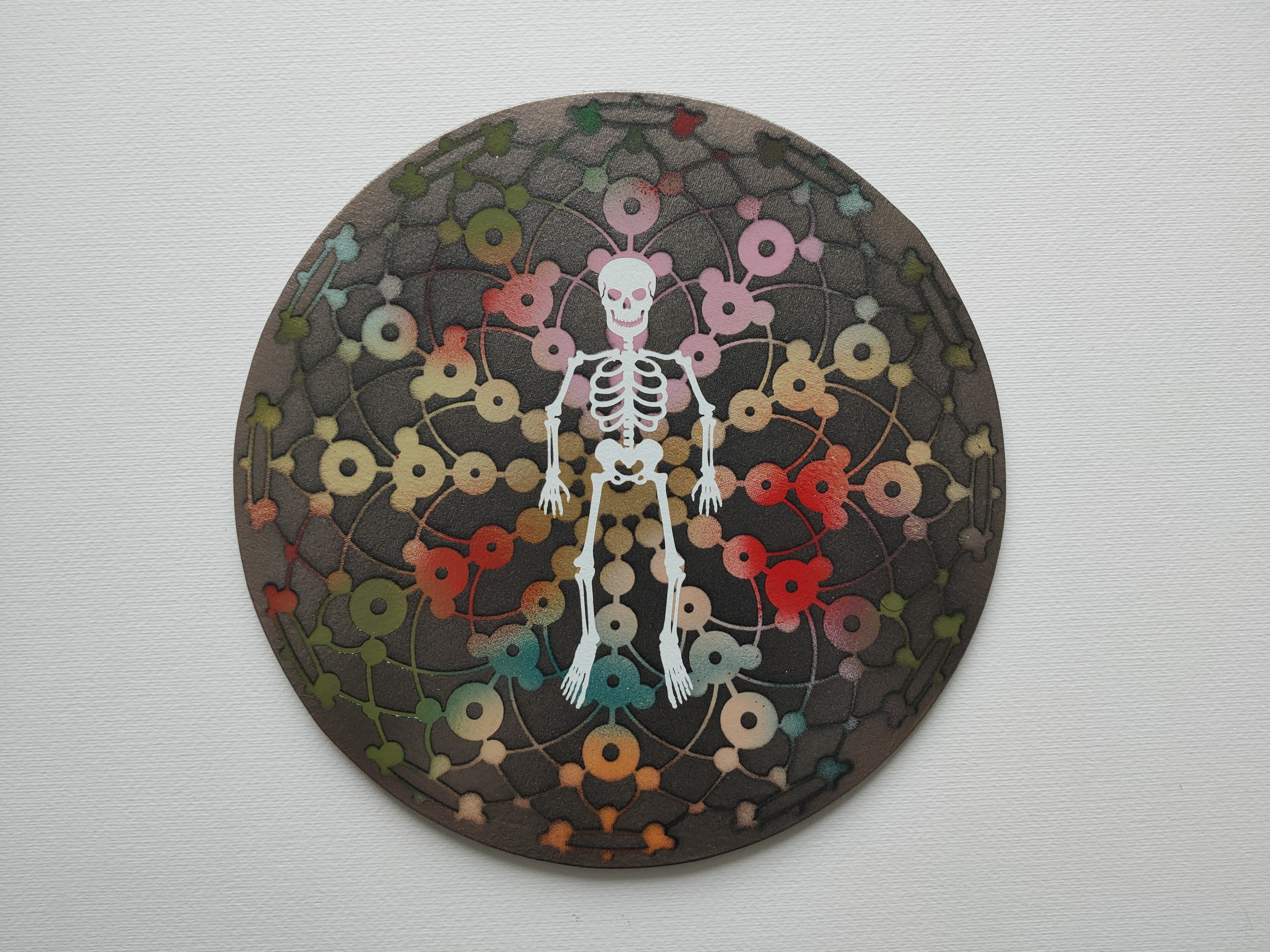 Skeleton of Joy, Marc Molk, acrylic on canvas board, diameter 11,8 in