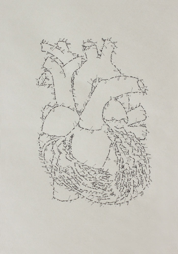 The Heart, Marc Molk, 2013, calligramm, indian ink on old paper, 11,3 x 7,8 in