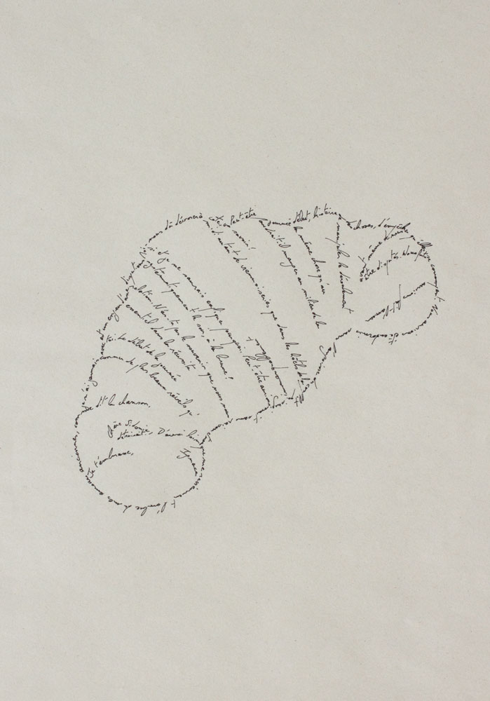 The Croissant, Marc Molk, 2013, calligramm, indian ink on old paper, 11,3 x 7,8 in