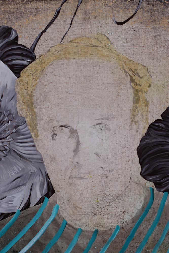 Le culte du style (détail), Marc Molk, 2013, huile et acrylique sur toile, 162 x 130 cm