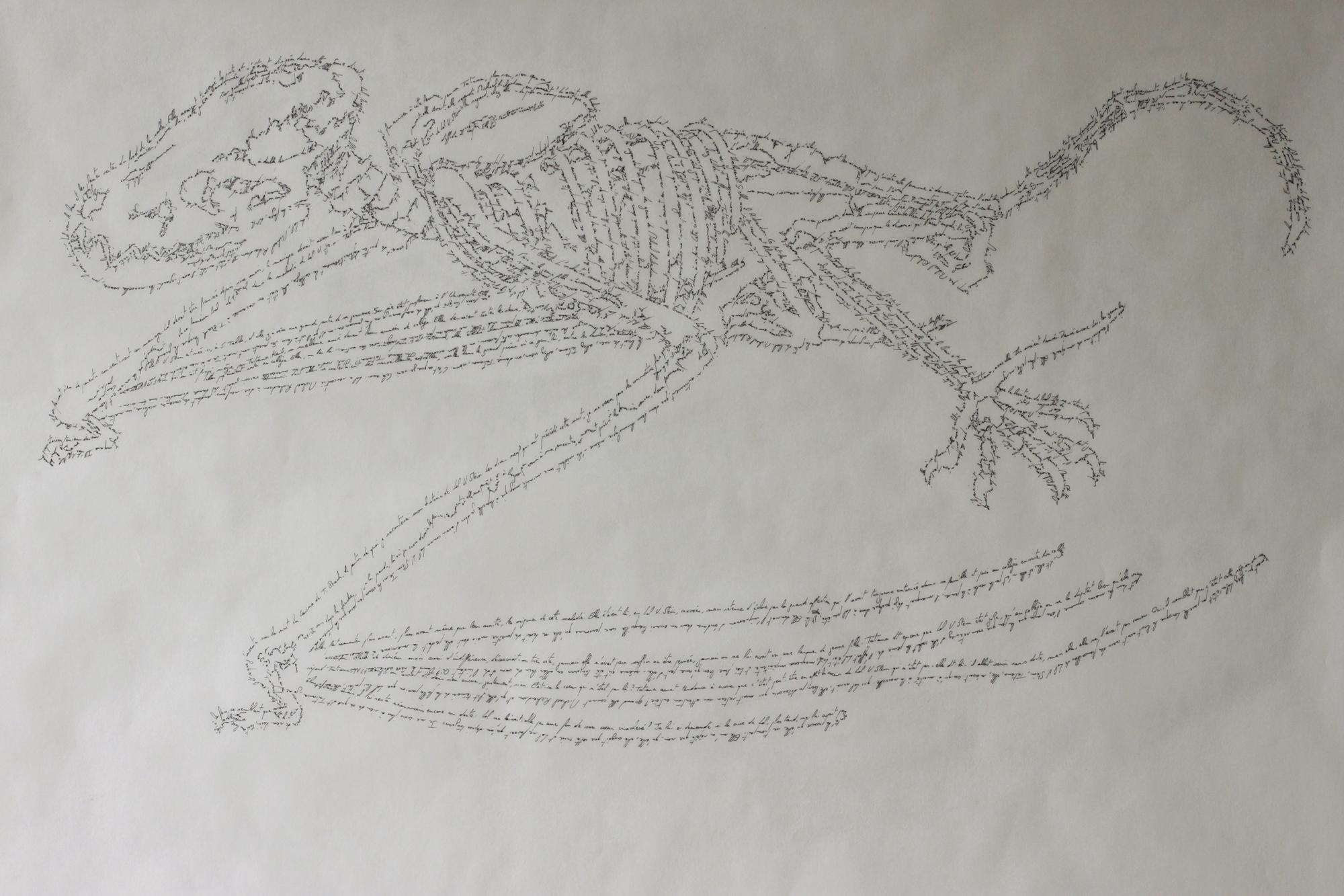 Lol V.Stein Duras, Marc Molk, 2015, calligramm, indian ink on paper, 19,7 x 27,5 in