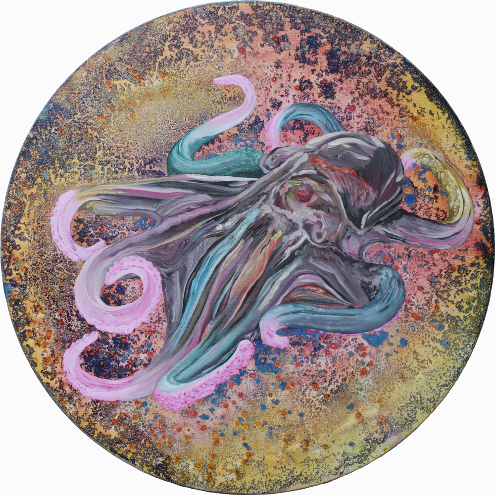 The Heartache, Marc Molk, 2014, oil and acrylic on canvas, diameter 31,5 in