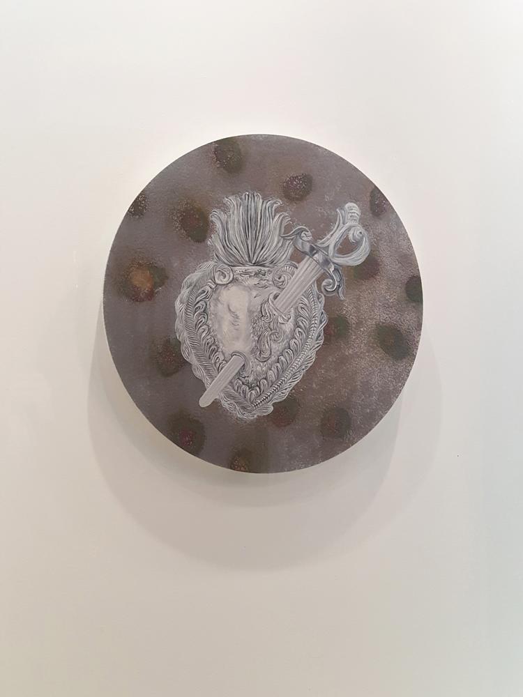 La vieille algèbre des peines d'amour, Marc Molk, 2016-2017, huile et acrylique sur toile, diamètre 80 cm