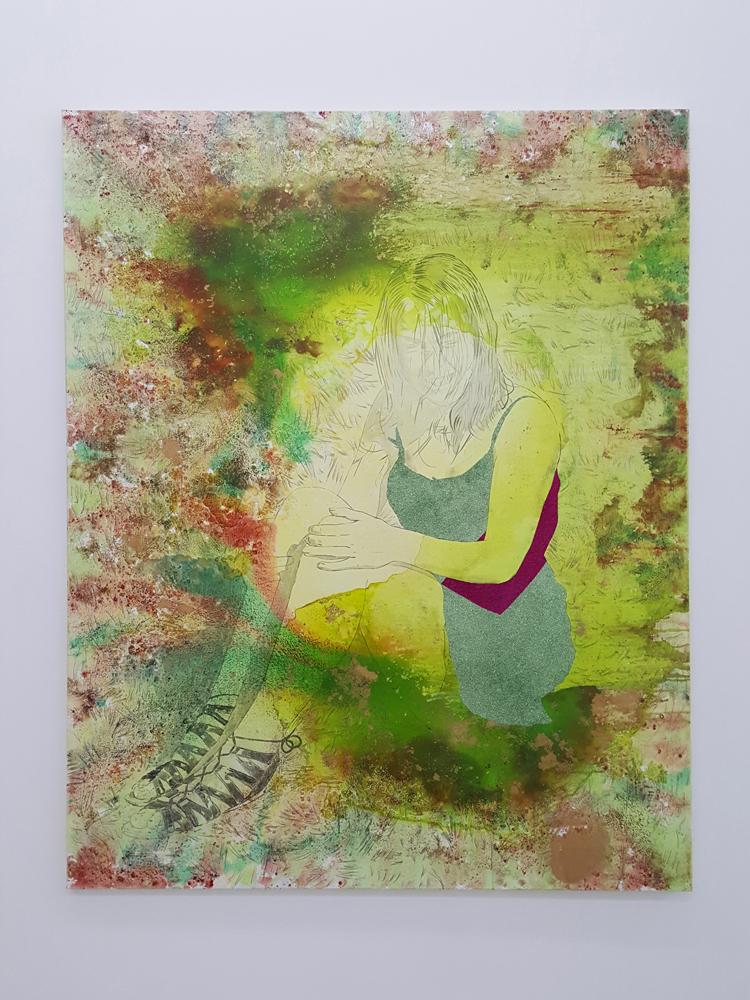 Les cris de la fée, Marc Molk, 2016-2017, huile, acrylique et paillettes sur toile, 162x130 cm