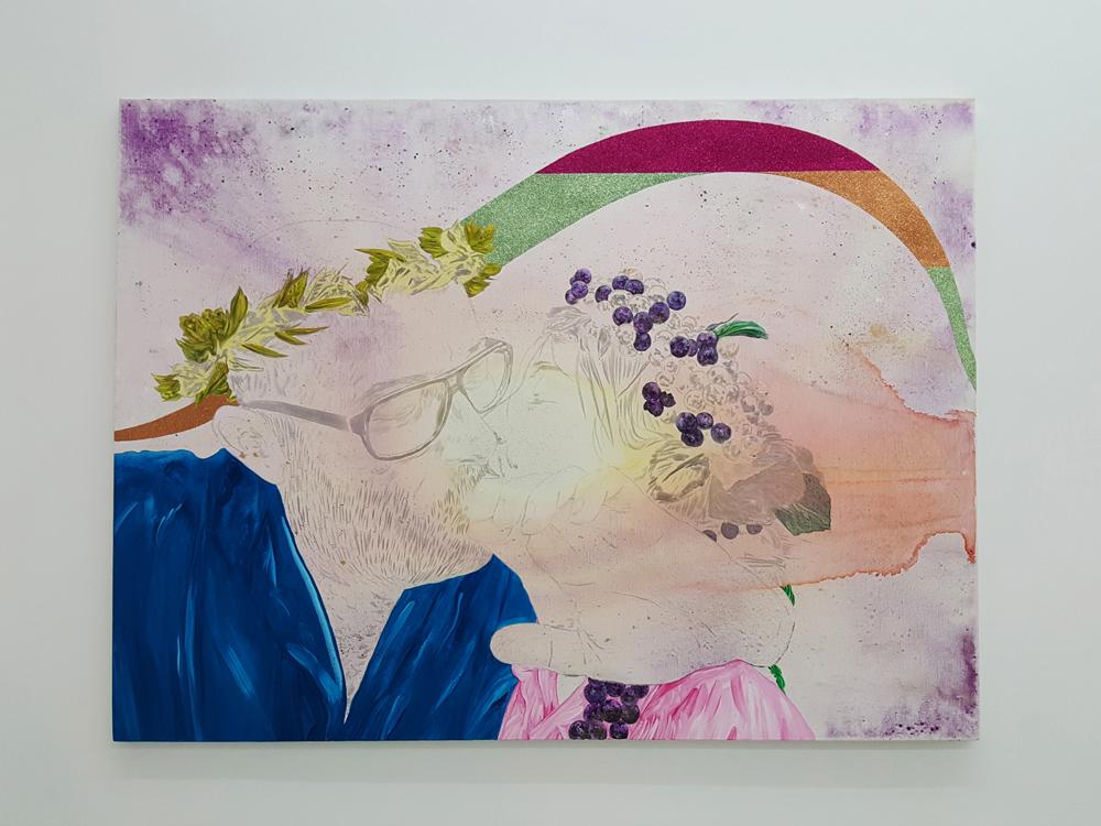 L'adolescence à l'âge adulte, Marc Molk, 2016-2017, huile, acrylique et paillettes sur toile, 97x130 cm