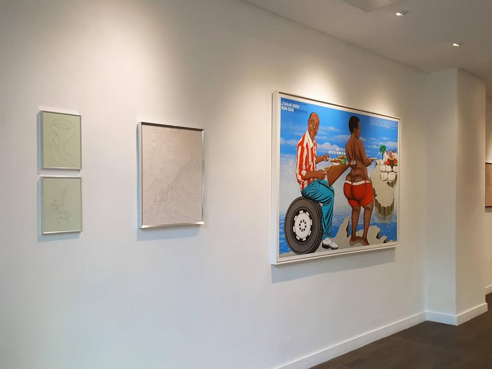 L'instance de la lettre / Exposition collective / MARC MOLK (à gauche), CHÉRI SAMBA (à droite), KIMIKO YOSHIDA