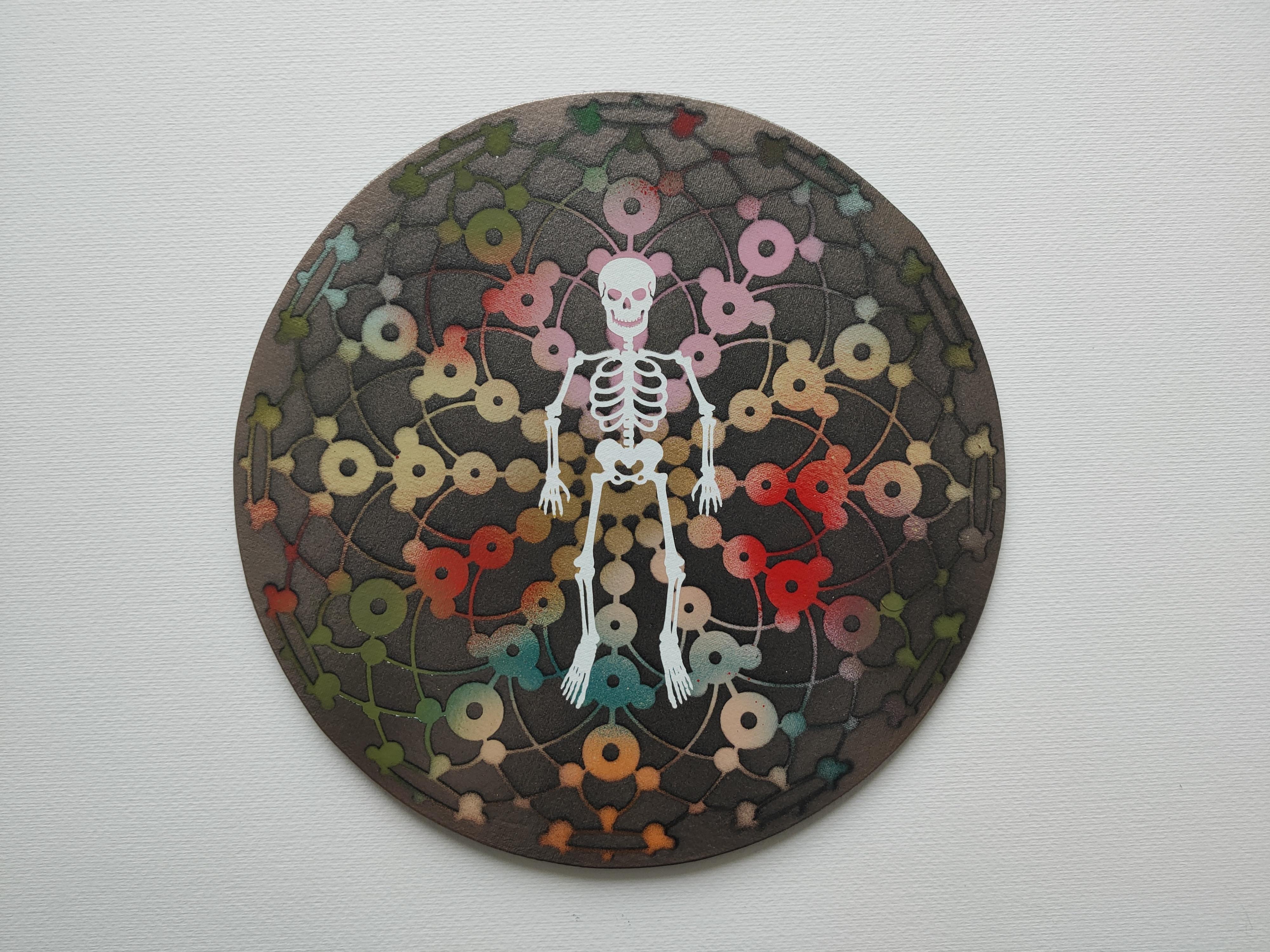 Skeleton of Joy, Marc Molk, acrylic on canvas board, diameter 11,8 in